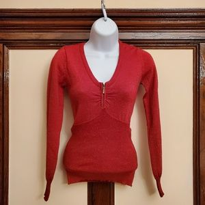Energies red shining sweater,long sleeve, size S.